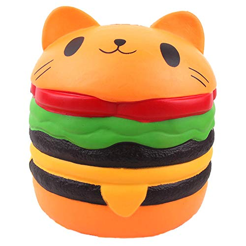 ACCOCO 10' Large Slow Rising Toy, Jumbo Squishies Kawaii Cute Cat Hamburger Bread Scented Squishy Soft Kids Toys Doll Stress Relief Toy, Decorative Props Large (Jumbo Hamburger Cat)