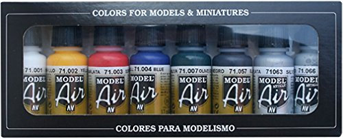 Vallejo 71174. Set pintura acrilica especial aerografo. Model Air con 8 colores basicos de 17ml cada uno