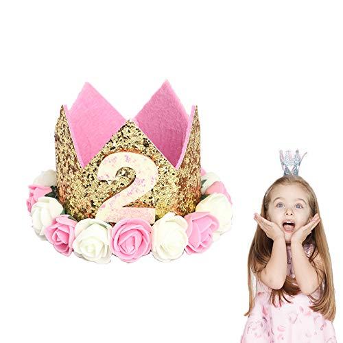 VCOSTORE Geburtstag Baby Krone, Baby Geburtstag Krone Hut Sparkle Rose Flower Geburtstag Tiara Crown