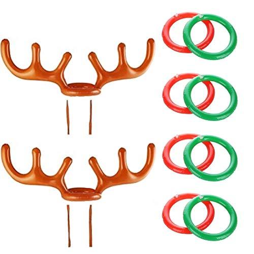 COSORO 2 Stücke Weihnachten Party Werfen Aufblasbare Rentier Weihnachten Geweih Hut mit Ringe Für Familie Kinder Büro Weihnachten Urlaub Party Spaß