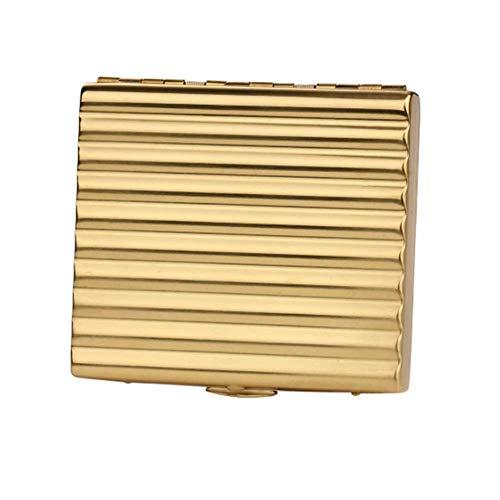 AoFeiKeDM Caja de cigarrillos laminada a mano 70 mm cigarrillo portátil 20 palillos ultra fino corrugado cobre metal corto cigarrillo caso para hombres