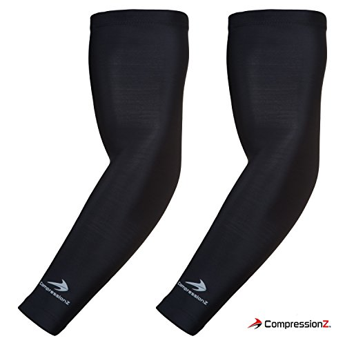CompressionZ Compression Arm Sleeves for Men Women UV Protection Baseball Basketball Tennis Golf Elbow Sleeve Sports Arm Warmers Lymphedema