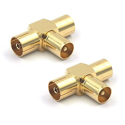 VCE 2 Stück IEC Stecker auf 2 IEC Buchse T Splitter Koxial T Stück TV Antennenstecker Winkeladapter für Koaxialkabel Antennenkabel