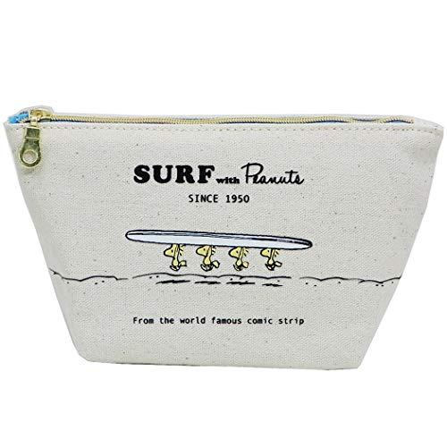 スヌーピー[コスメポーチ]舟形キャンバスポーチ/ウッドストック SURF ピーナッツ