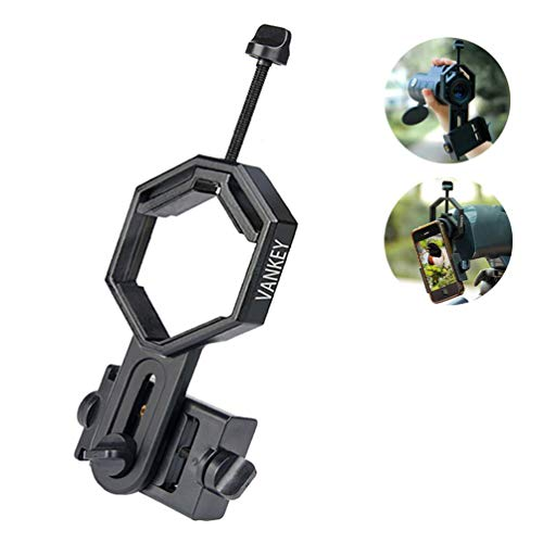 Vankey Cellphone Telescope Adapter Mount, Universal Phone Adapter for Spotting Scope/Telescope/Microscope/Monocular/Binocular - Fits iPhone, Samsung, HTC, LG and More (Large)