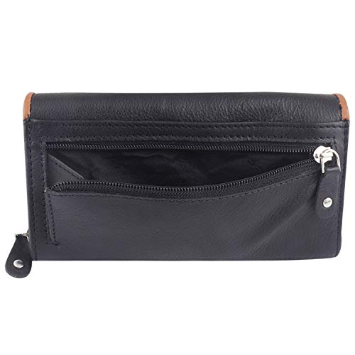 STARHIDE Womens RFID Blocking Soft Real Nappa Leather Long Flap Over Purse Multi Credit Card Holder 5505 (Black Tan)