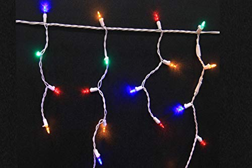 Stay Off The Roof Super Bright Christmas Mulitcolored LED Icicle Lights Outdoor/Indoor Set - 150-Piece - 12 ft Lighted Length of String Lights, Connect up to 18 Sets - Holiday Pack