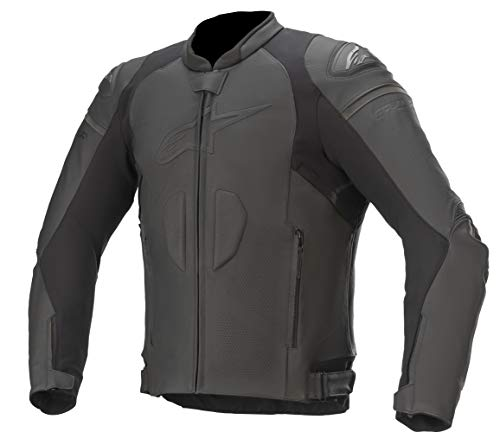 Alpinestars Men's GP Plus R v3 Airflow Leather Motorcycle Jacket, Black/Black, 62