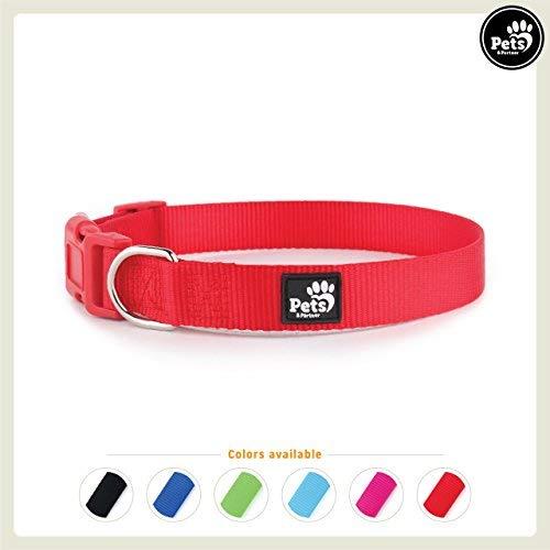 Pets&Partner® Hundehalsband aus Nylon, Halsband mit Kunststoffschnalle in verschiedenen Farben für kleine bis große Hunde S, Rot