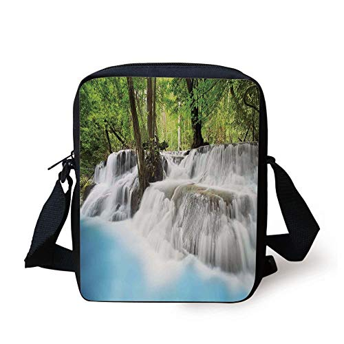 Waterfall,Mystic Erawan Waterfall in Forest Foggy Over Pool Tropical Jungle,Light Blue Green White Print Kids Crossbody Messenger Bag Purse