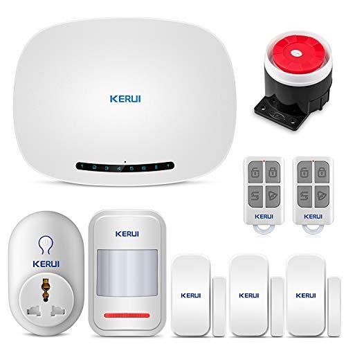KERUI W19 GSM Sistema de Alarma para el Hogar con Aviso de Voz Kit de Sistema de Alarma Antirrobo Inalámbrica con Control Remoto de Enchufe Inteligente Mediante CALL/SMS/APP (IOS y ANDROID)