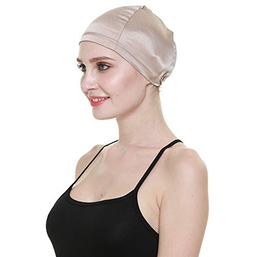 Perückenkappe, 100 % Maulbeerseide, atmungsaktiv, weich, für Glatzen, ganzjährig erhältlich - Beige - Einheitsgröße