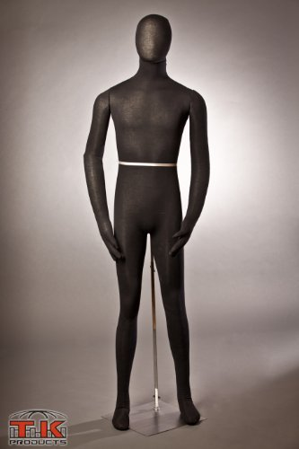 Male Mannequin, Flexible Posable Bendable Full-Size Soft -Black, by TK Products, Great for Costumes