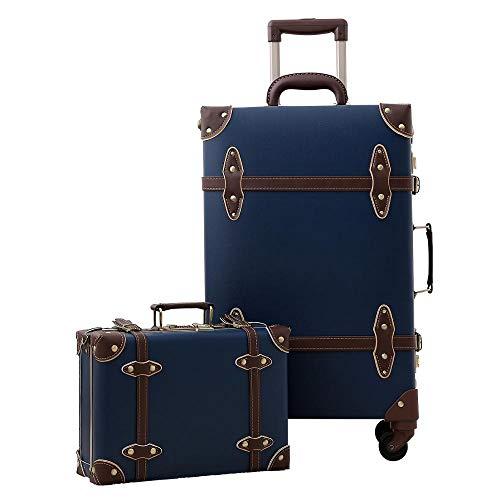 KGDUYH Maleta Equipaje de la Vendimia con Lanzador Giratorio, Hecho de Cuero PU, Maleta pequeña para Hombres y Mujeres. para Viajes de Negocios (Color : Vintage Blue Set, Luggage Size : 22')