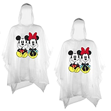Disney 2-Pack Mickey & Minnie Mouse Sitting Vinyl Rain Ponchos (Adult)