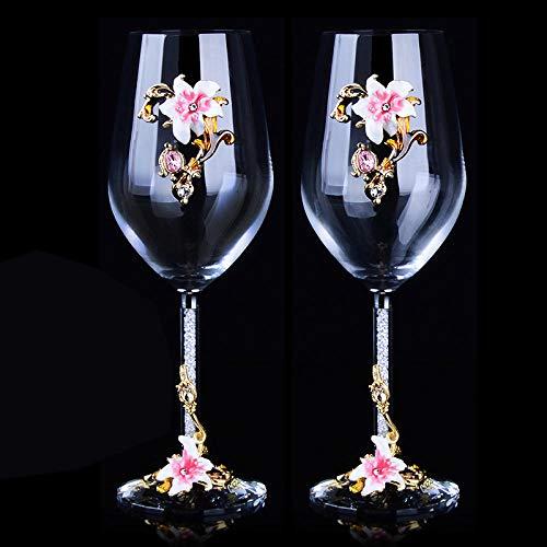 Juego de copas de vino tinto de 470 ml de cristal esmaltado, copa de vino para recién casado, traje de regalo elegante vodka alta copa whisky rosa_470ml