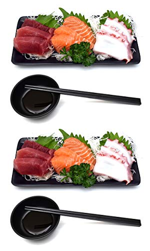 Melamine Sushi Platter Dish Tray Japanese Dinner Set with Chopsticks and Soy Sauce Dish Set for 2