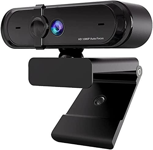 Cámara web Full-HD 1080P con micrófono, autoenfoque, carcasa, compensación de exposición, puerto USB, cámara para chat y grabación de vídeo, Live Streaming, compatible con Windows, Mac y Android