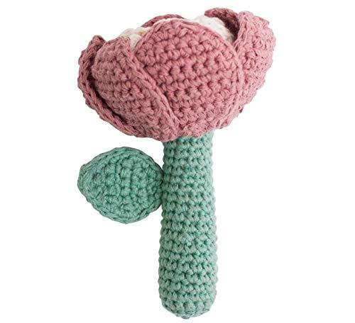 Sebra - Häkel-Rassel - Woll-Rassel - Blume - Baumwolle - 3,5 x 12 cm