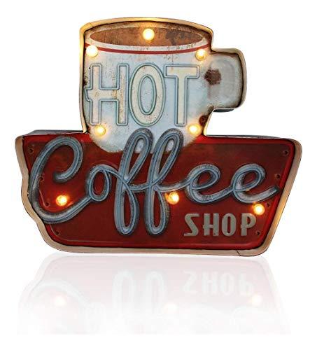 DiiliHiiri Cartel Retro Luminoso Café Cafeteria Vintage Letrero Metálico Artesania Accesorios Decoración Hogar (Hot Coffee)