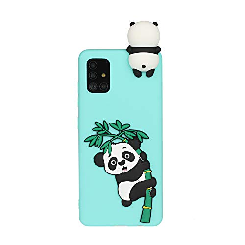 CUAgain Compatible with Samsung Galaxy A41 2020 Case Silicone Panda 3D Pretty Pattern Animal Cute Design Cover Girly Protective Shockproof Bumper for Girls Boys Men Women Green