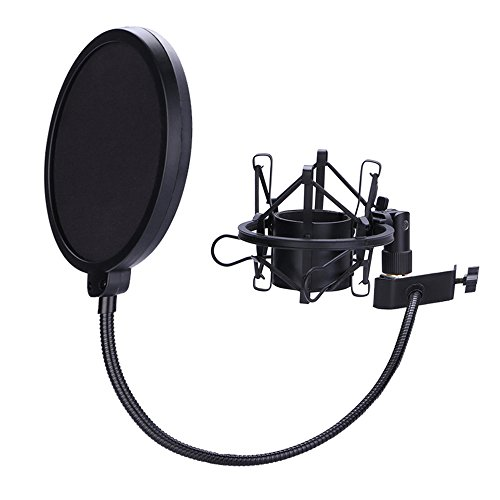 Microphone Shock Mount with 6 Inch Mic Round Shape Wind Pop Filter Mask Shield, Mic Anti-Vibration Suspension Shock Mount Holder Clip for Diameter 1.8inches to 2.1 inches Microphone