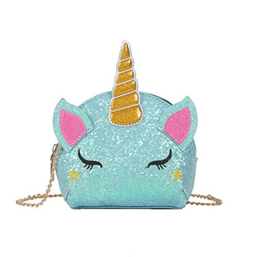 TXVSO Pequeño Brillo Monedero Unicornio Lindo Bolso Cierre de Cremallera para Niñas Adolescentes Mujeres, Azul