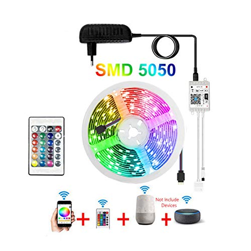DZHT Tira De Luz LED SMD 5050 2835 Wifi Bluetooth RGB Cinta Con Controlador 12V 5M 10M 15M Luz Mágica Para El Hogar, Controlada Por Alexa (Color : B)