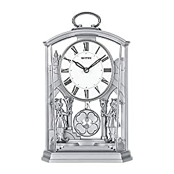 XUEXIONGSP European Mantel Clock, Crystals Mantel Clocks, Stylish Rhythm Mantel Clock Gold Gilt with Rotating Pendulum, Quartz Silent Desk Table Shelf Clock,Silver