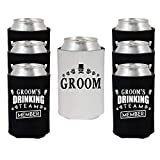 Shop4Ever Groom and Groom's Drinking Team Member Can Coolie ~ Wedding Bachelor Party Beer Can Sleeve Coolers ~ (Member, Blk, 6 Pk)