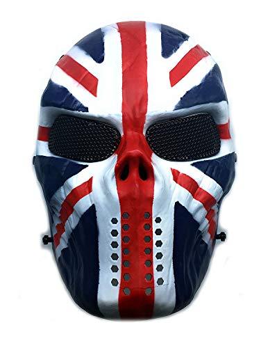 CS mascarilla de protección Halloween Airsoft Paintball Full Face Skull Máscara de esqueleto (Bandera de la Unión)