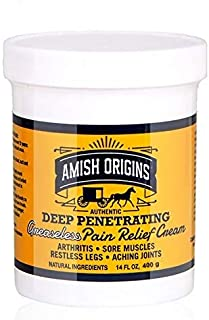 Amish Origins Deep Penetrating Pain Relief Cream (Greaseless) 14 oz- Medicated Pain Relief Cream, Quick Acting Pain Relief...