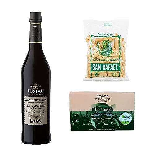 Pack de Vino Manzanilla de Sanlucar 3 en Rama Lustau de 50 cl, Picos al aceite de oliva de 115 g y Lata de mejillones 4/6 uds - Elaborado en Cadiz - Mezclanza