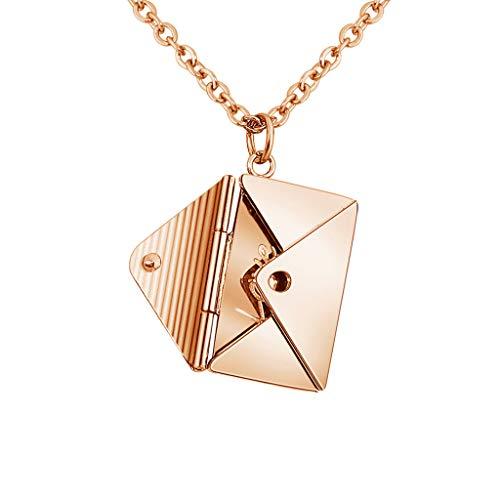 nengzhuzu Love Envelope Colar com pingente de coração com mensagem de amor e medalhão