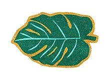 Fisura DM0696 Felpudo Original y Divertido Forma Hoja Verde Fibra de Coco Entrada Puerta Casa PVC Moderno Antideslizante para Interior, 45 x 70 cm