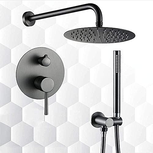 Mezclador de ducha oculto gris de 10 pulg., Cabezal de ducha de lluvia redondo, mezclador, conjunto de ducha, tubo de manguera