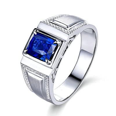 Bishilin Anillo de Oro Blanco 750 Reales, Rectángulo Zafiro 1.28ct Diamante Anillo de Fiesta de Cena Alianzas de Boda Regalos para Cumpleaños Fiesta de Navidad Azul Plateadotamaño: 22