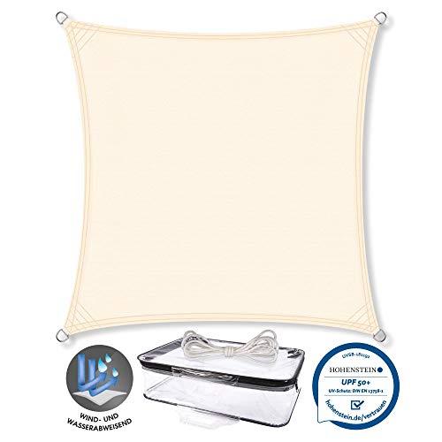 CelinaSun Sonnensegel PES Quadrat 4x4m Creme weiß UPF 50+ Sonnenschutz inkl Befestigungsseile