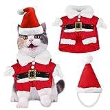 Dorakitten Disfraz de Navidad para Mascotas, Traje de Gato con Gorro de Santa Claus Accesorios Fiesta de Navidad Party Foto de Vacaciones de Invierno