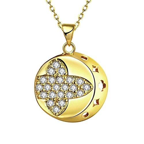 KnSam Joyería de Moda Collar de Plata Mujer, Chapado en Plata Hueco Luna Colgante Oro Cristal para Mujer Joya Original