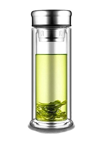 iRSE Luxury Tea Infuser Bottle Thick Double Wall Glass Tumbler with Elegant design and Gift bag Stainless Steel Lid and Strainer for Loose Leaf hot cold drink filter fruits herbs 10 oz