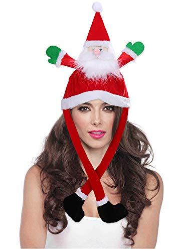 Christmas Hat Unisex Velvet Santa Hat Funny Comfort Cosplay Costume for Xmas New Year Festival Holiday Party (red)