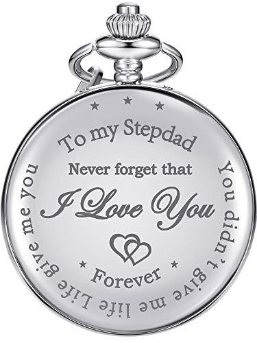 Tatuo Regalo de Padre Reloj de Bolsillo para Padre en Ley, Stepdad You Didn't Give Me Life, Life Give Me You, para Cumpleaños Navidad Día de Acción de Gracias Día de Padre