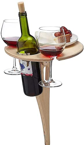 Dzhzuj Outdoor Wine Picnic Table - Outdoor Wine Table Portable Folding Table,for Concerts At Park, Beach, Ideal Wine Lover Gift