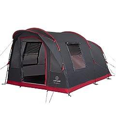 JUSTCAMP Tente familiale Atlanta 3, tente de tunnel pour 3 personnes, hauteur debout, sol cousu - gris