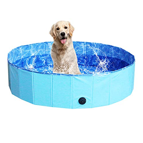 NHILES Portable Pet Dog Pool, Collapsible Bathing Tub, Indoor & Outdoor Foldable Leakproof Cat Dog Pet SPA for Dogs Cats and Kids(Water Ripple Theme)