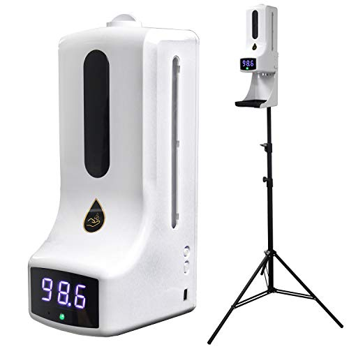 2 in 1 Thermometer with Hand Sanitizing Soap Dispenser - Instant Temperature Read, Light-Sensitive Distance Sensor + 1000mL Capacity - Automatic Liquid Sanitizer Soap - Hands Free (K9 Pro with Stand)