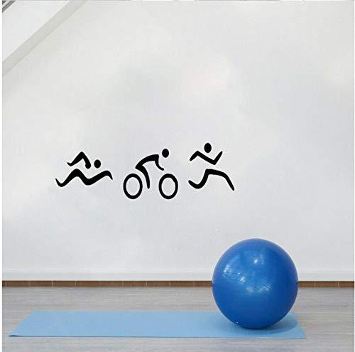 Sticker muursticker muursticker 53 cm x 16,9 cm Interessant triathlon zwemmen fiets en lopen muursticker pvc gym extreme sport woonkamer slaapkamer