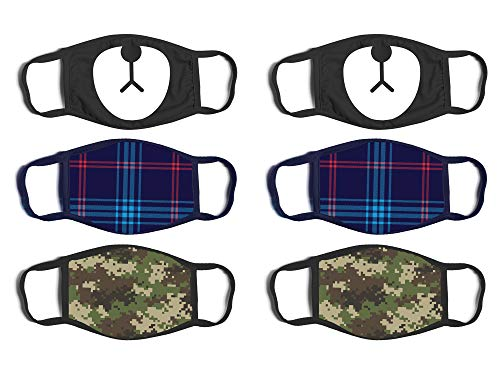 'ABG Accessories Boys' Reusable Protective Fashion Face Masks (6 Pack), Bear/Camo, Size Age 4-14'