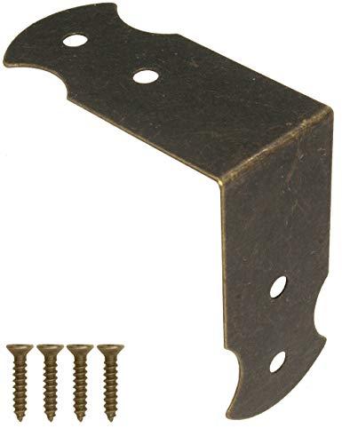 Fuxxer – 20 conectores angulares, herrajes, esquinas angulares, pinzas, protección, conexión, latón antiguo, diseño vintage, 40 mm x 17 mm, 20 unidades con 80 tornillos